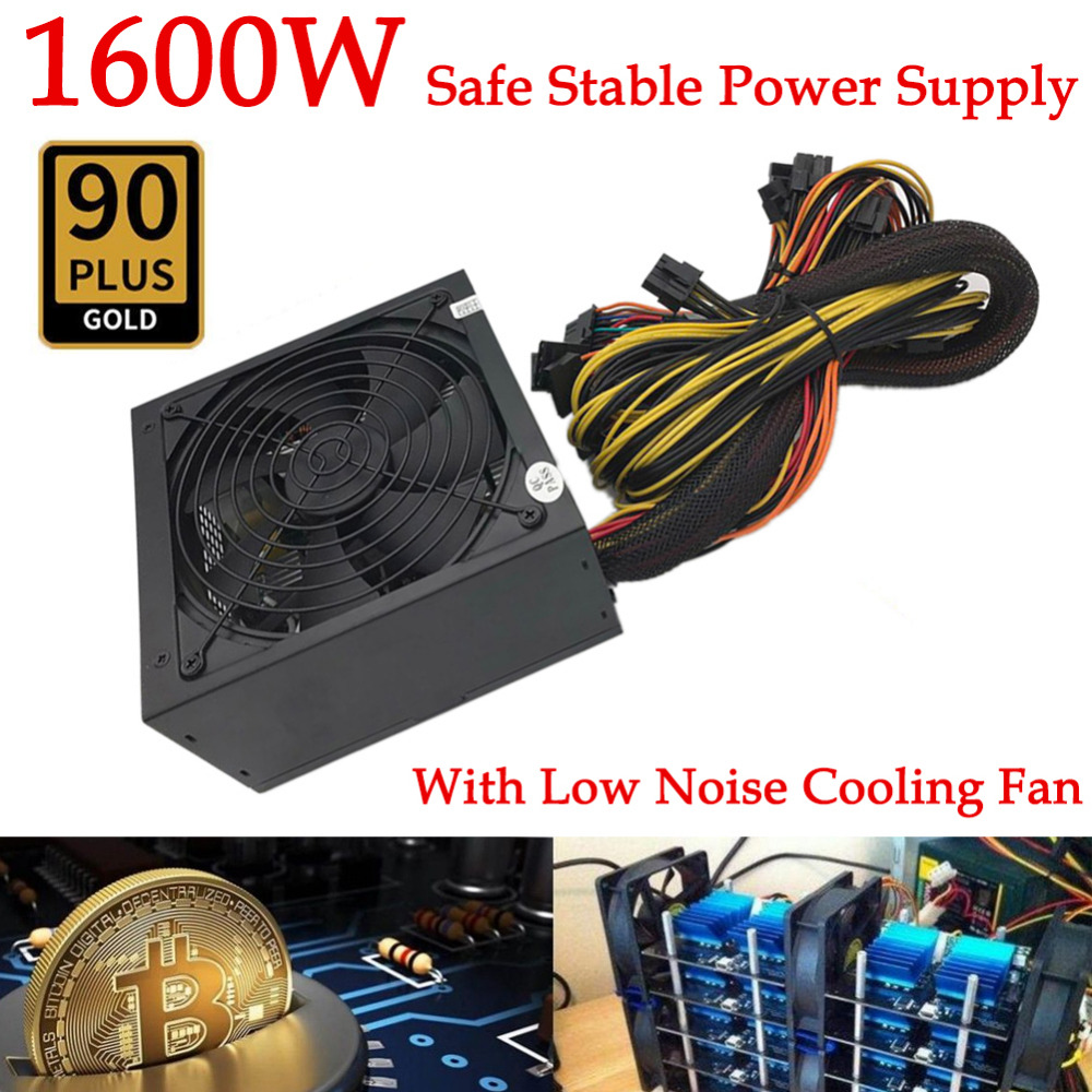 1600W Modular Power Supply For 6 GPU Eth Rig Ethereum Coin Mining Miner 90 Gold High Quality Computer Power Supply For BTC atx 80plus efficiency 500w power gold power 12v sata port connectors 12cm fan high quality computer power supply for btc