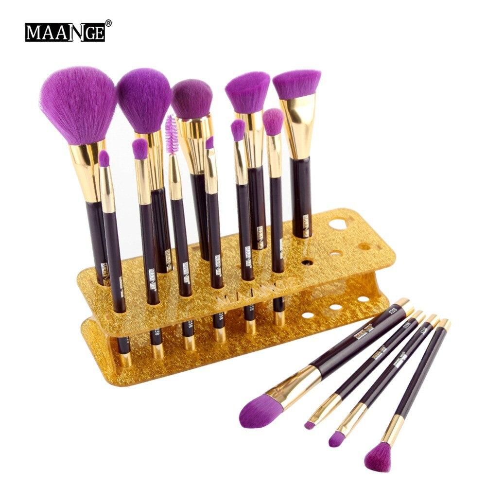 MAANGE15/20 Holes Acrylic Makeup Brush Holder Organizer Rack Shelf Display Dryer Stand Storag Case Beauty Tool Tear Off Sticker