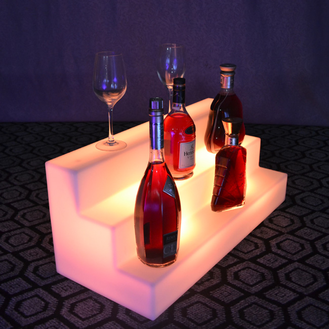 Rechargeable Indoor 16 Color Changing Glowing In Dark LED Wine Holder LED Glowing Lamp For Bar Furniture Free Shipping 2pcs/Lot(China)