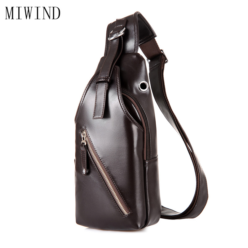 MIWINDNew Arrival Chest Bag Men Small Messenger Bag Pu Leather Leisure Casual Brand Fashion Zipper Back Pack Bags TSD902 tinyat men functional multilayer bag cool casual chest bag pack morden outside large capacity messenger bag pack t509 black