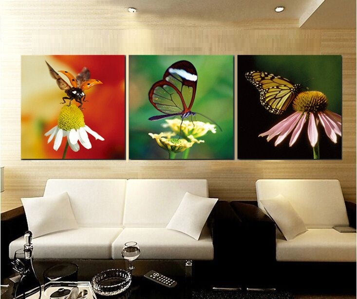 2017 flower and butterfly canvas painting print picture - Cheap wall decals for living room ...