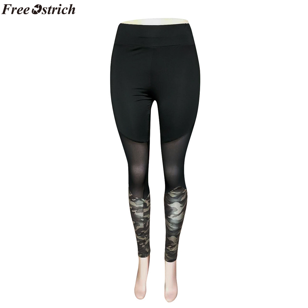 Free Ostrich Womens High Waist Stitching Legging Selastic Plus Size Camouflage Slim Push Up Trousers Workout Pants Outstanding Features Bottoms