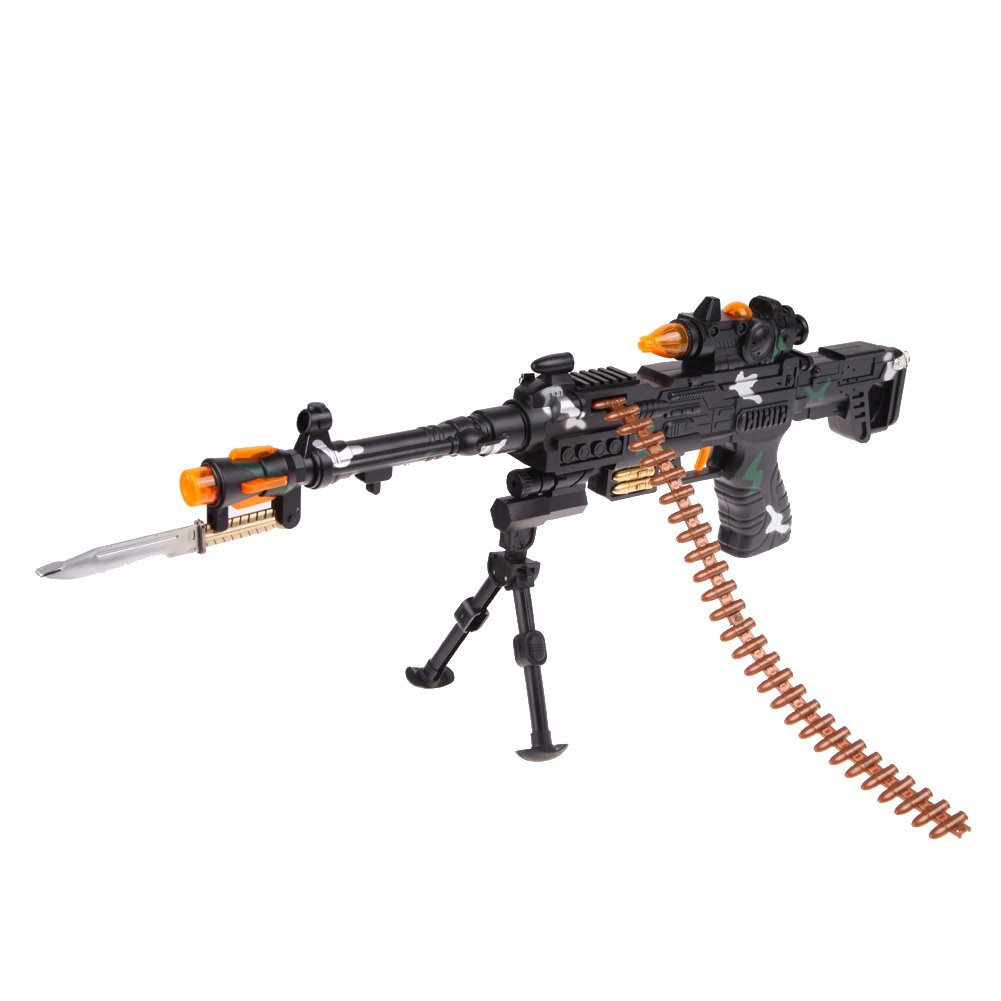 NEW TOY KIDS MILITARY ASSAULT MACHINE GUNS WITH SOUND FLASHING LIGHTS GIFT