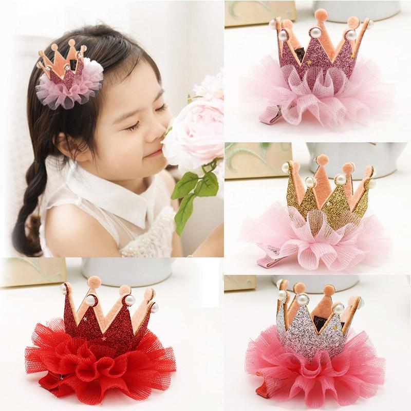 Cute Baby Girl Crown Princess Hair Clips Lace Pearl Shiny Star Headband Hair Pin