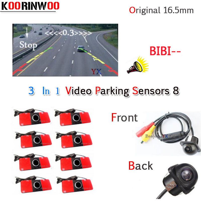 Koorinwoo Dual Core CPU Car Parking Sensor 8 Reversing Radar Video System Car Rear view Camera Automobiles Safe Jalousie Oversee