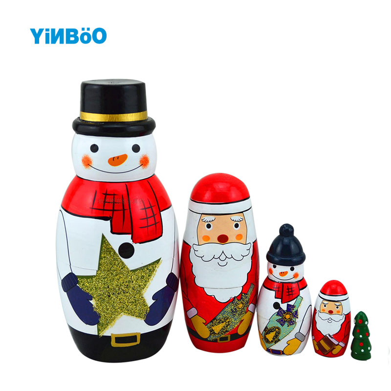 Wooden Russian Nesting Doll 5 Layer Matryoshka Dolls Christmas Santa Claus Home Decoration Craft Christmas Gift santa claus printed christmas sweatshirt