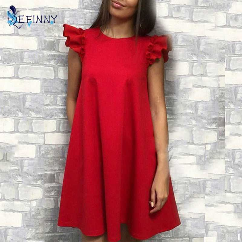 EFINNY ผู้หญิง Ruffle ฤดูร้อน Vintage A-Line หลวม dresses หญิง Vestidos