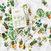 45pcs/box Fresh Green oxygen life Diary Handmade Paper Label Sealing DIY Decoration Shaped Stickers