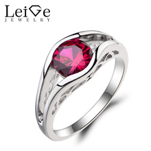 Leige Jewelry Solitaire Ring Lab Ruby Ring Wedding Ring Red Gemstone July Birthstone 925 Sterling Silver Ring Romantic Gifts