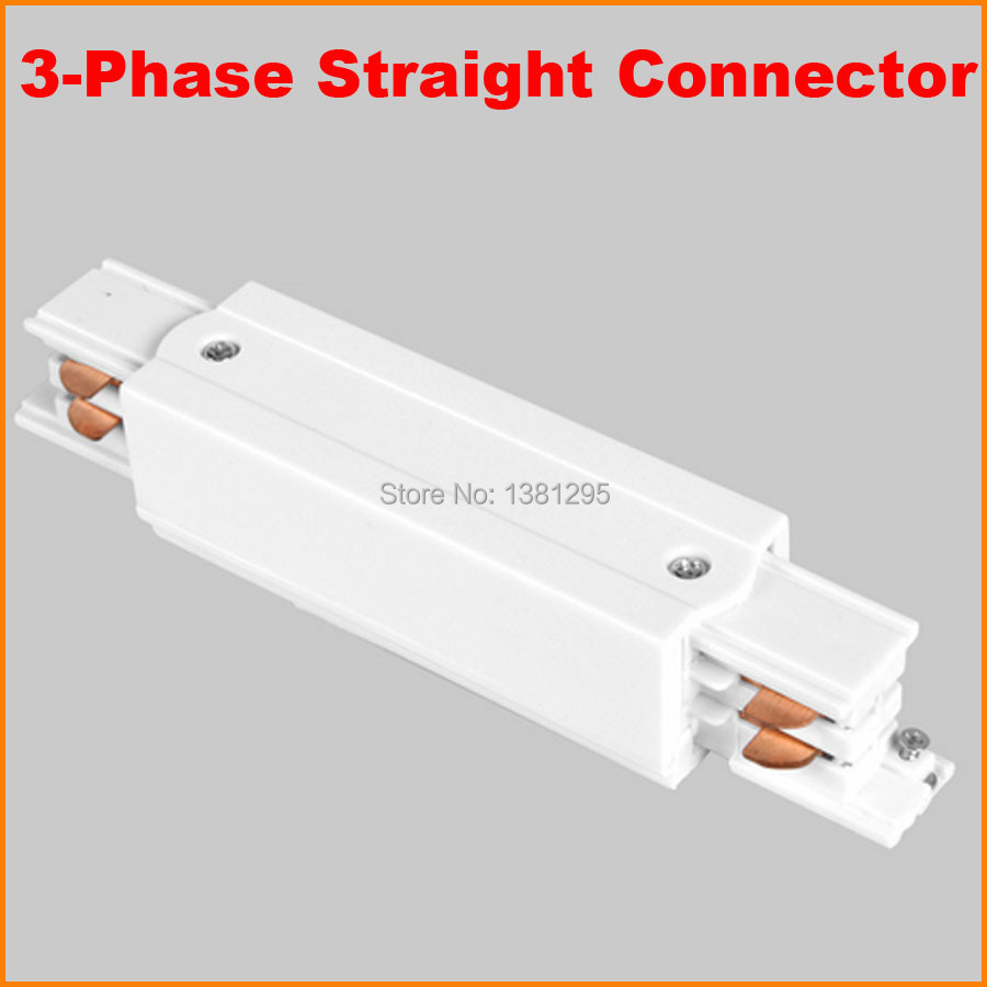 3 Phase Circuit 4 Wire Square LED Track Light Rail Middle Feed Straight Connector Aluminum Track Accessories Tracks Joiner White