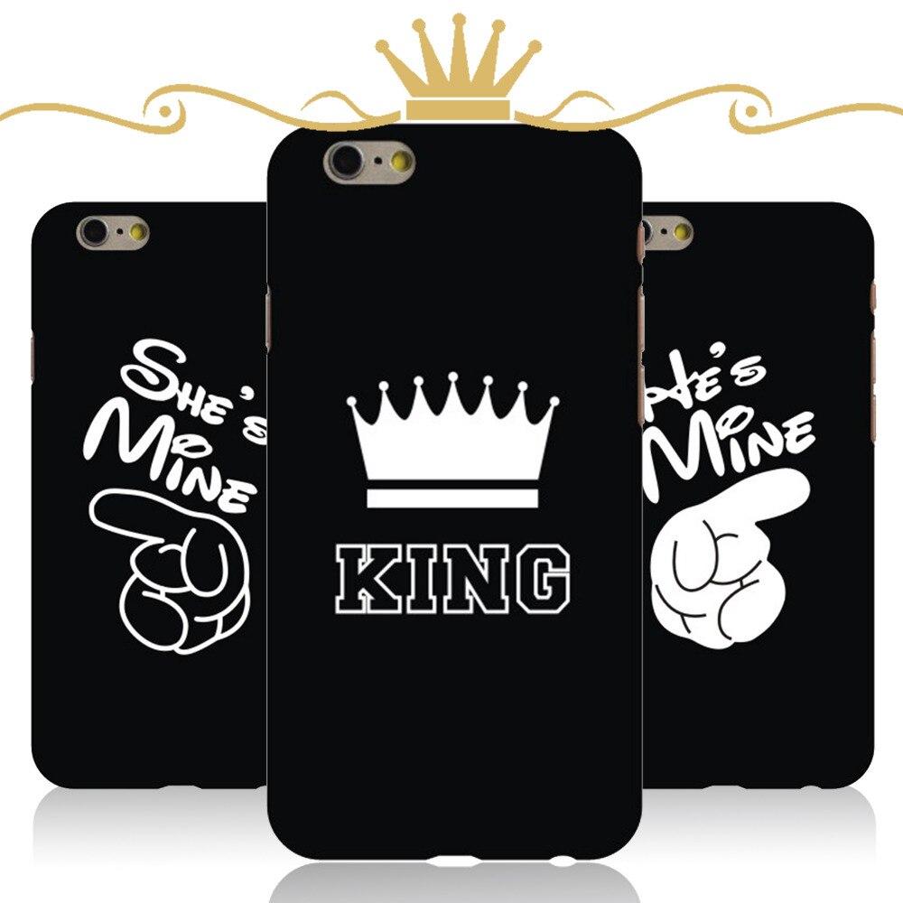 Роскошные Корона короля Queen для Apple iPhone 6 6S случае 6 Plus Жесткий ПК ультра тонкий mobel телефон обратно кожи чехлы для мангала Телефонные Чехлы пр...