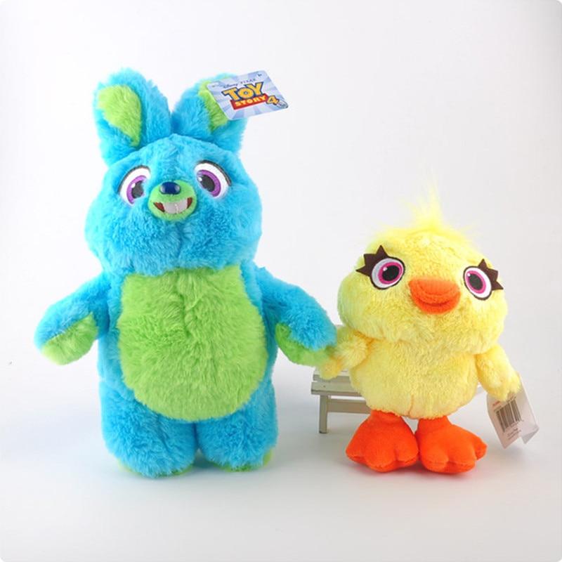 2Pcs/Lor Toy Story 4 Plush Toys Yellow Duck Blue Rabbit Bunny Soft Stuffed Animal Plush Doll for Kids Birthday Christmas Gift toy story bunny toys