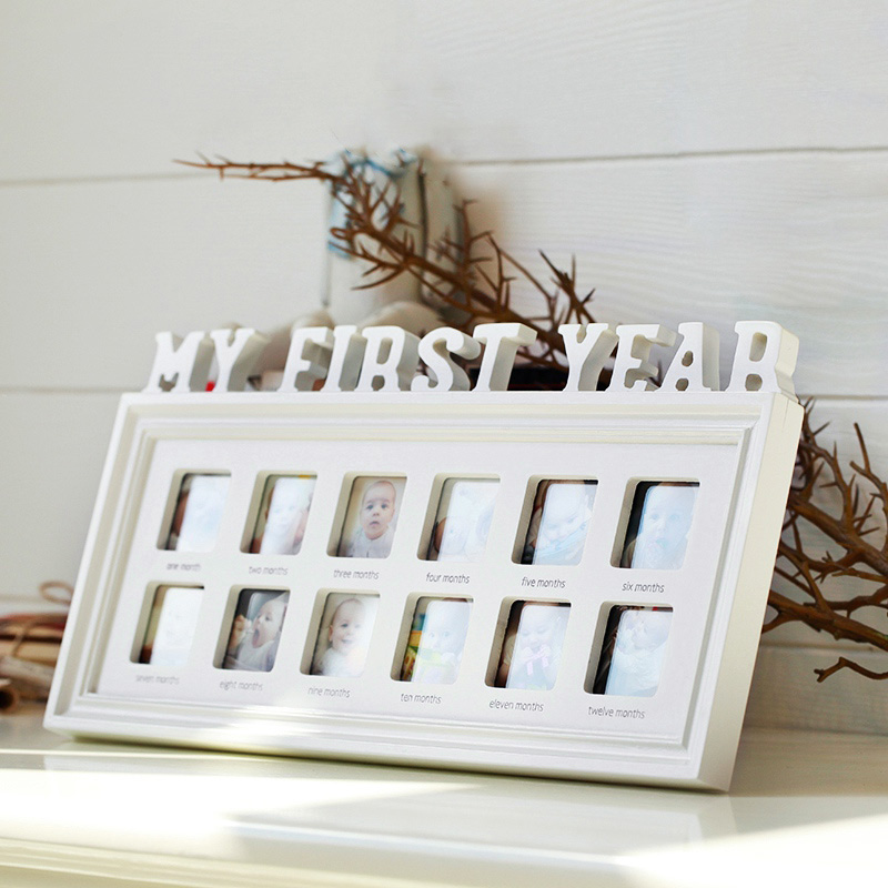 Baby Memorial Growing Picture Frame 1-12 Month Baby Photo Frame Display Kids Birthday Gifts Home Room Decor Wall Decorations