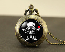 Steampunk pocket watch Undertale Sans 2 Game Gamer Gaming vintage Necklace 1pcs/lot bronze silver Pendant jewelry new chain mens