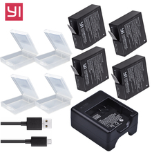 лучшая цена 4x 1400mAh Yi 4K bateria AZ16-1 Battery For Xiaomi Yi lite YI 2 4K+ 360 VR Battery + USB Dual Charger Xiaoyi 4K Action Camera