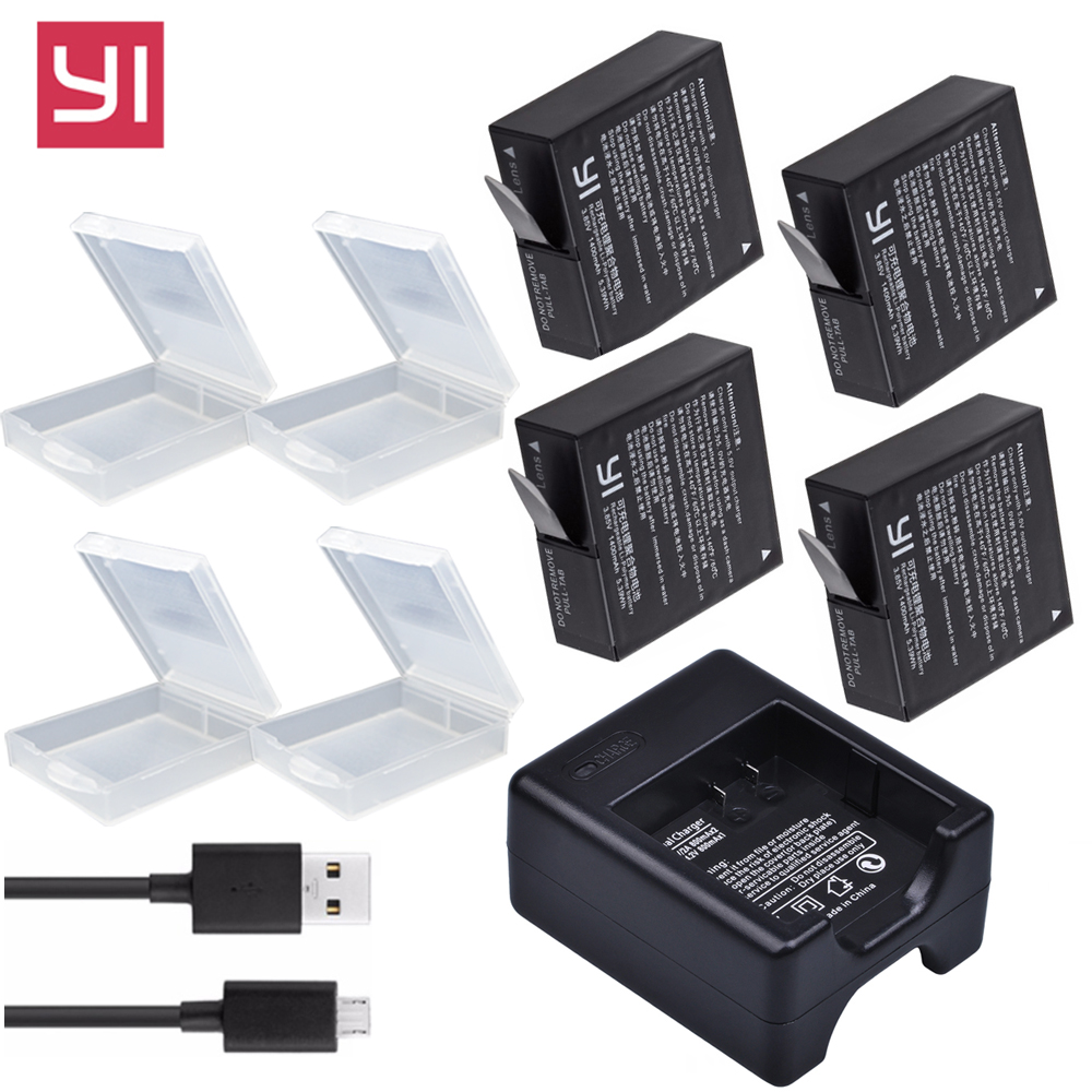 4x 1400mAh Yi 4K bateria AZ16 1 Battery For Xiaomi Yi lite YI 2 4K+ 360 VR Battery + USB Dual Charger Xiaoyi 4K Action Camera