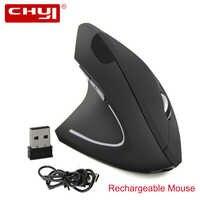 2.4G Sem Fio Vertical Mouse Ergonômico Recarregável Mão Esquerda Ratos 1600DPI USB Optical Mause Computador com Mouse Pad para laptop