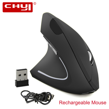 2.4G Wireless Vertical Mouse Rechargeable Ergonomic Left Hand Mice 1600DPI USB Optical Computer Mause with Mouse Pad for Laptop