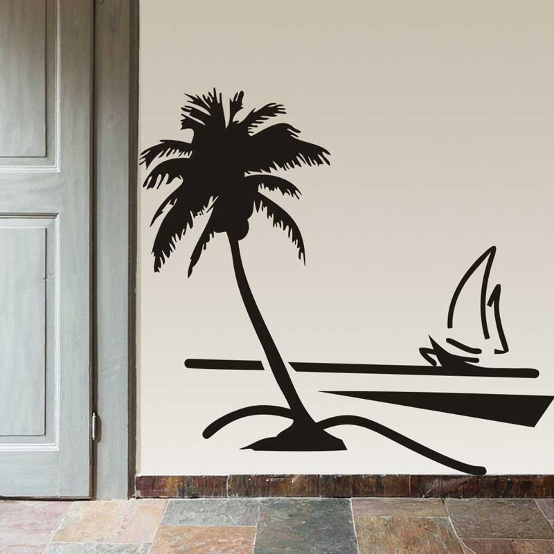 New palm coconut tree decal vinyl art wall papers sailboat for Beautiful palm tree decal for wall