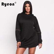75fdc221ac9 Ryeon Plus Size Autumn Winter Casual Women Dresses Big Size Black Blue Long  Sleeve Zipper A Line Loose Sexy Mini Hoodies dress