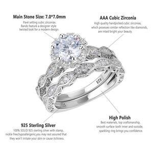Image 5 - خاتم زفاف عتيق من Newshe 2.6Ct أبيض دائري الشكل AAA CZ مجموعة خواتم خطوبة أصلية من الفضة الإسترليني عيار 925 للسيدات JR4891