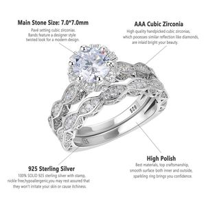 Image 5 - Newshe 2.6Ct Wit Ronde Cut Aaa Cz Vintage Wedding Ring Set Echt 925 Sterling Zilveren Engagement Ringen Voor Vrouwen JR4891