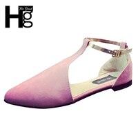 HEE GRAN Moda Sandali delle Donne scarpe A Punta Chiusa Scarpe T-Strap Buckle Copertura Tacco Piatto con le Scarpe per donna XWC1167