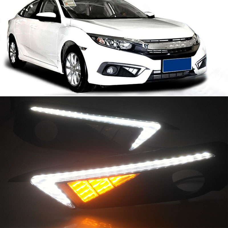 Car Drl Led For Honda Civic 10th 2016 2017 2018 Daytime Running Lights With Fog Light Hole Auto Accessories 2Pcs/Set