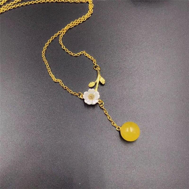 Bijoux fins pendentif ambre naturel 9mm-10mm bijoux 925 collier en argent livraison gratuite