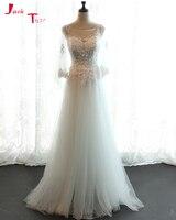 Jark Tozr Hot Sale Three Quarter Sleeve Beading Pearls Hand Made Flowers White Beach Wedding Dresses