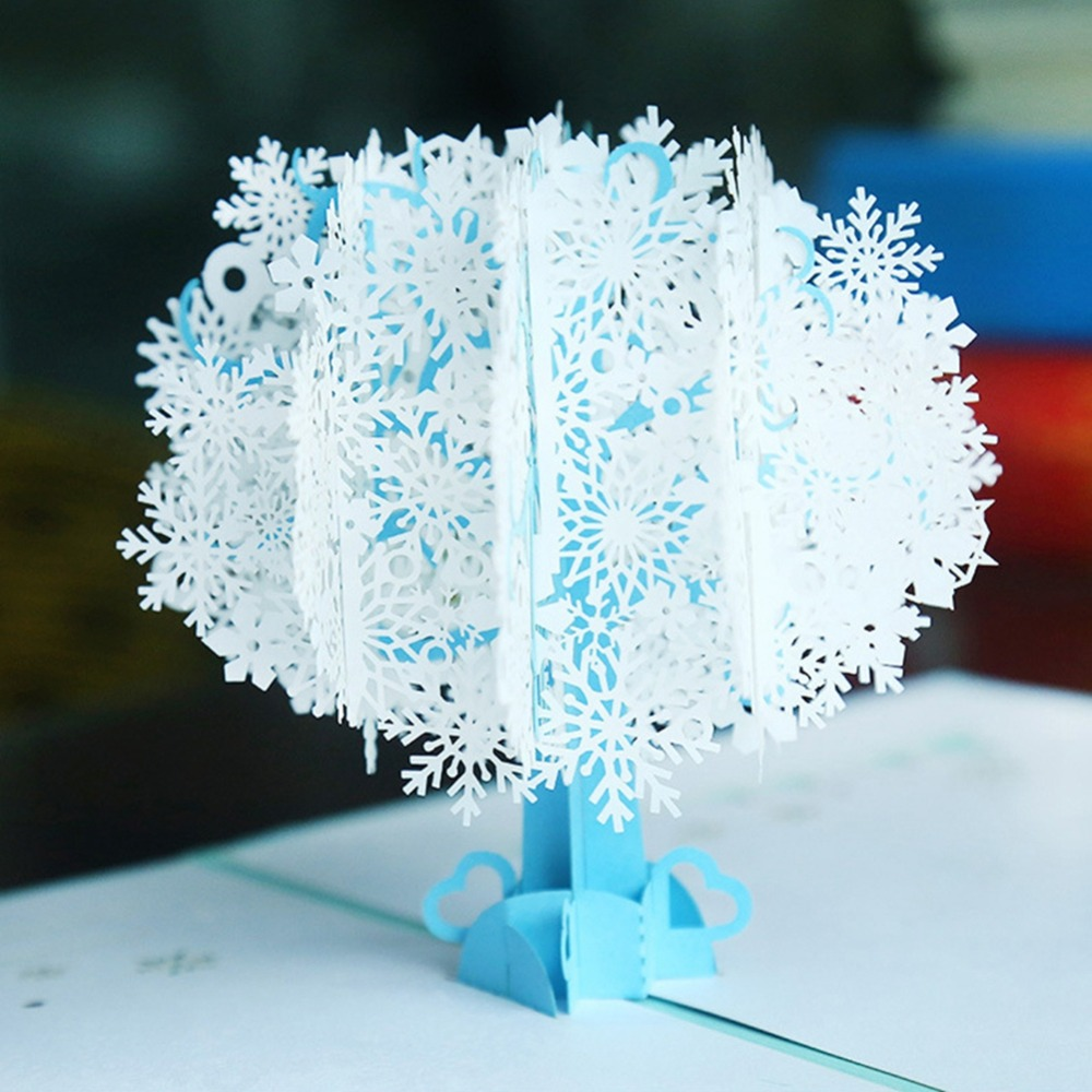 1 Pcs Handmade Merry Christmas Greeting Card 3d Pop Up Tree Box Snowflake Greeting Card Craft Holiday Invitation Gift Festive & Party Supplies Event & Party