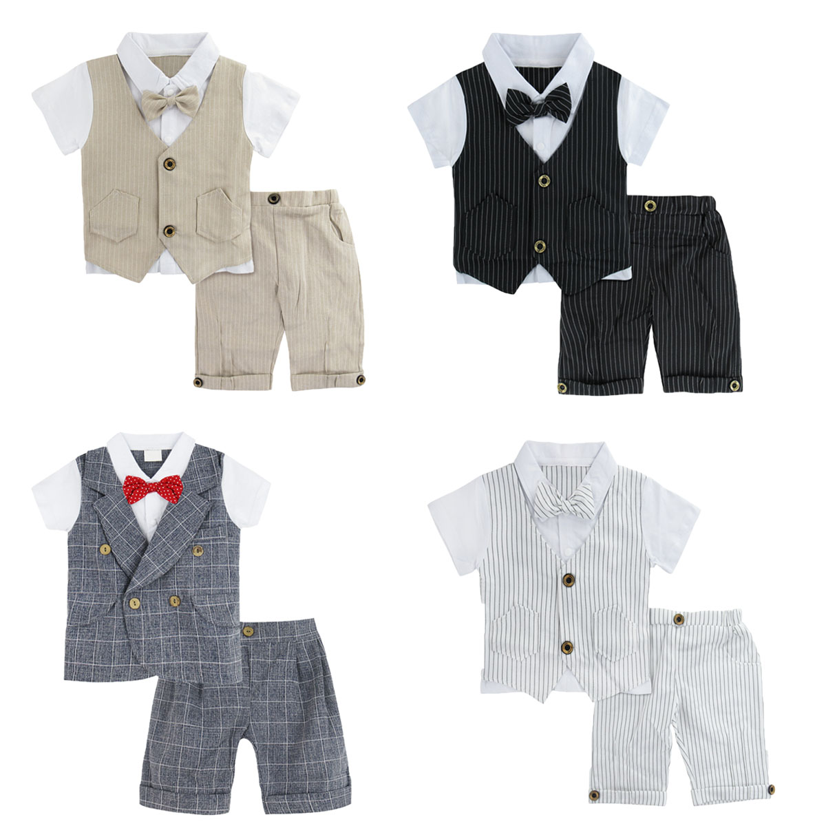 Baby Boy Gentleman Clothing Set Infant  Baptism Wedding Birthday Party Gift Formal Outfit Toddler Shirt  Pants With Bow Tie Suit