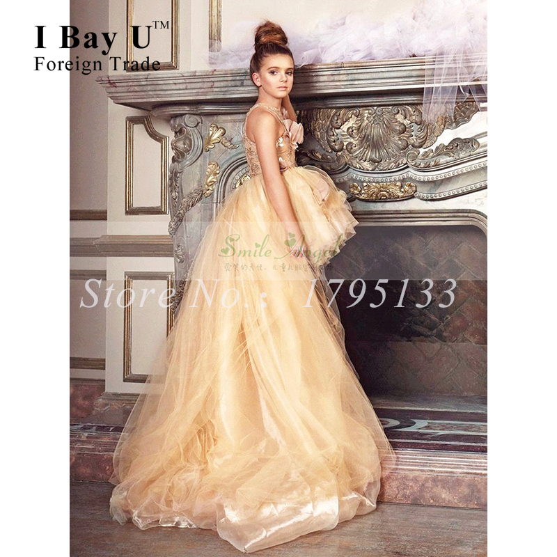 Champagne Tulle Puffy Ball Gown Girls Tea Length Tulle Skirt Pageant Dresses For Girls Gliz Kids Evening Gowns Baljurk Meisje