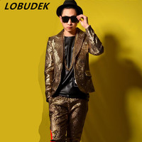 Jacket Pants Male Gold Suits Wedding Groom Prom Dancer Singer Dress Performance Show Nightclub Clothing