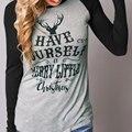 Moda Meninas Encantadoras das mulheres Elegante E Confortável Tee Impresso Crewneck Emenda O Pescoço Casual Tops T-Shirt