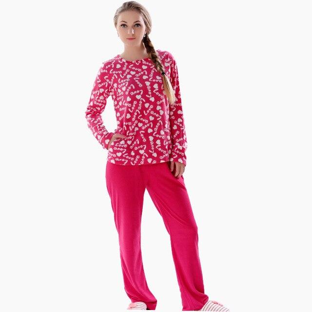 2016 Весна Женщины Плюс Размер Флис 2 Шт. Пижамы Пижамы Установить Лох Костюм Ночное Пижамы Установить Для Женщин