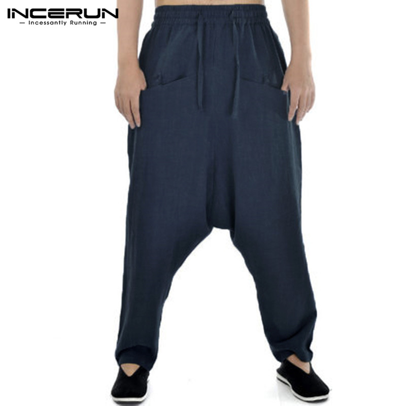 INCERUN 2020 Harem Pants Men Solid Drop Crotch Cotton Hip-hop Trousers Men Streetwear Casual Vintage Baggy Pantalon Hombre S-5XL