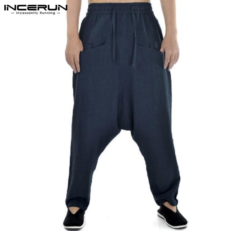 INCERUN 2020 Harem Pants Men Solid Drop Crotch Cotton Hip-hop Trousers Men Streetwear Casual Vintage Baggy Pantalon Hombre S-5XL