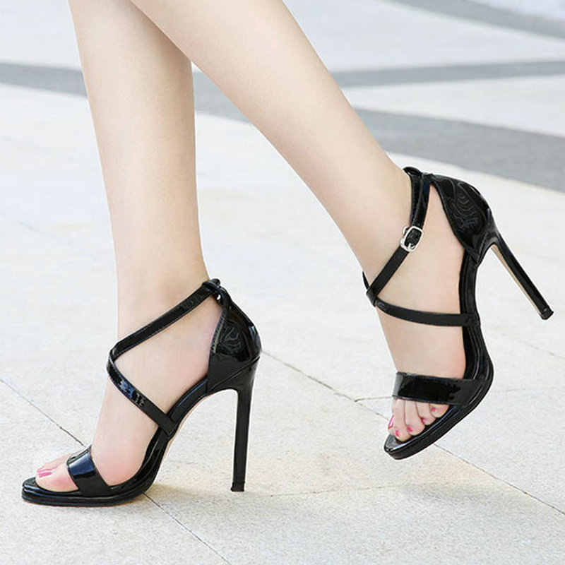 Size 35-46 Plus Size 2019 New Women Mature Pumps High Heels Classic Black Shoes Woman Ladies Hot Summer Sexy Crystal Sandals
