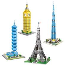 World Scenic spots famous architecture Building Blocks Street Eifel Tower bridge twin towers block toys for children