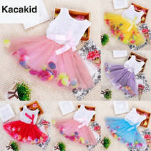 Newest Toddler Baby Kid Girls Princess Party Tutu Lace Bow Flower Dresses Clothes Wholesale Free Shipping