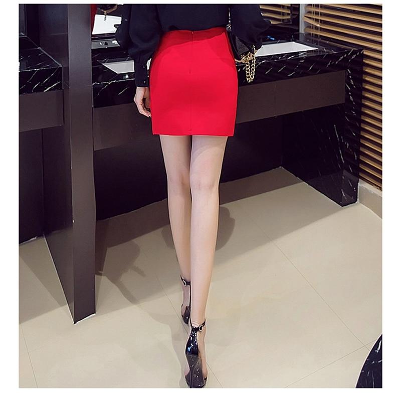 S-5XL Plus Size Black Pencil Skirt Summer 2017 Bodycon High Waist Skirts Women's Faldas Cortas Saia Tight Sexy Mini Skirt Red 11
