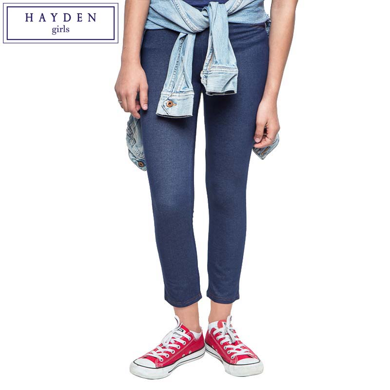 HAYDEN Teen Girls Fake Jeans Legging Pants Kids Skinny ...