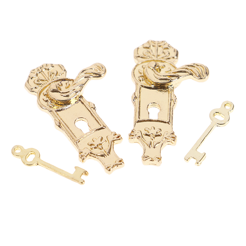 Set Of 4 Dolls House Miniature Door Lock With Keys For 1/12 Dollhouse Furniture DIY Accessories Children Furniture Toys