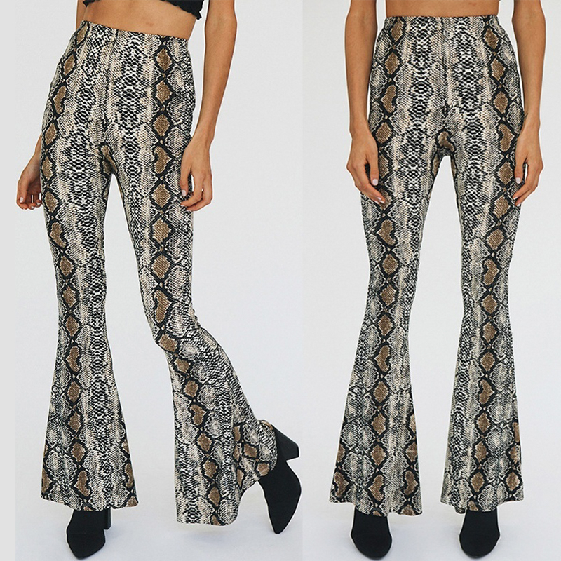 Women Casual Elastic Waist Trousers Pantalones Fashion Snake Skin Print Wide Leg Pants Sexy Club Flare Pants