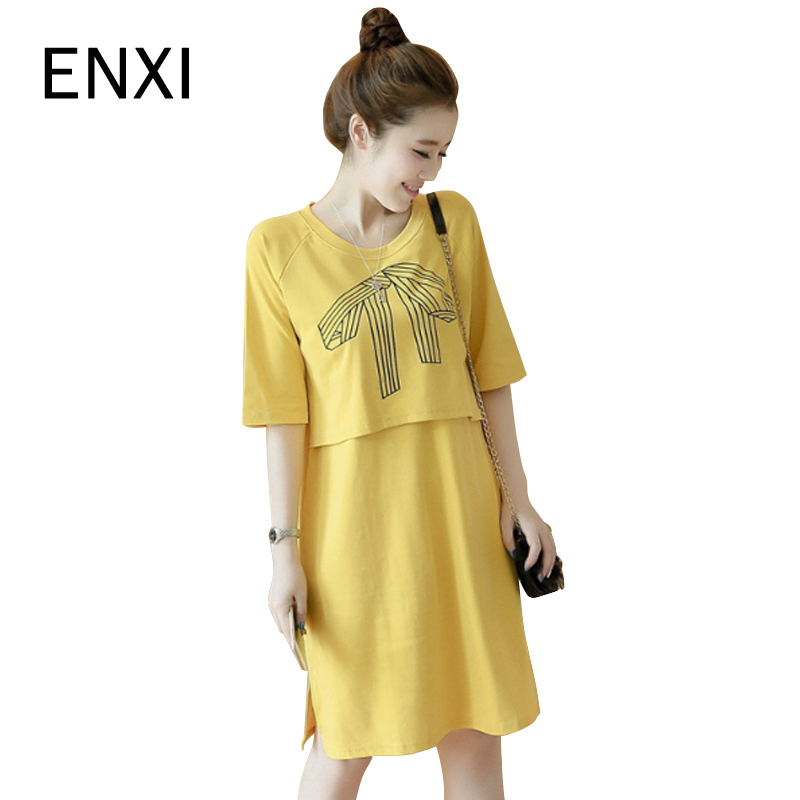 ENXI Print Maternity Clothes For Breastfeeding Mid Sleeve Nursing Dresses Cotton Pregnancy Clothing For Pregnant Women