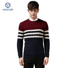 Men Pullover Sweaters Long Sleeved Collar Knitted Casual Hit Color Stitching Stripe Thicken Clothing Size M-2XL Polo Sweater