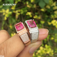 KJJEAXCMY Fine jewelry Fine 925 sterling silver Inlay Natural Men's Ruby Ring Topaz Ring in Sterling Silver