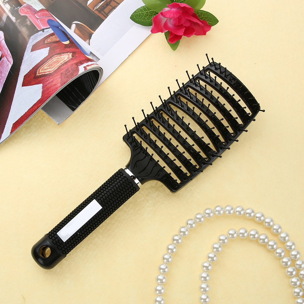 1pc Ribs Comb Hairbrush Women Wet Hair Brush Professional Styling Plastic Nylon Big Bent Comb Hairdressing Styling Tool #5