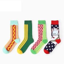 High Quality 75% Cotton Chaussette Hotdog Corn Watermelon Food Style Funny Socks Fashion Mens Happy crew socks free shipping